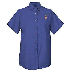 Soil Release Button Down SS Poplin Shirt - Ladies'