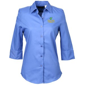 Soft Collar 3/4 Sleeve Poplin Shirt – Ladies' Main Image