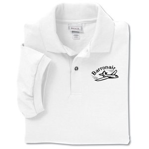 Anvil 50/50 Jersey Knit Polo - Screen - White Main Image