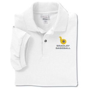 Anvil 50/50 Jersey Knit Polo - Embroidered - White Main Image