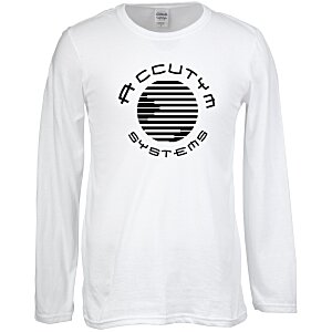 Gildan SoftStyle LS T-Shirt - Men's - Screen - White Main Image