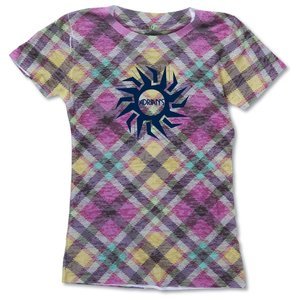 Blue 84 Juniors' Burnout Sublimated Tee - Tartan Plaid Main Image