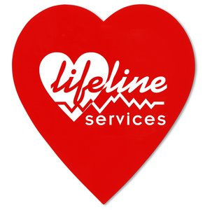 "Value Decal - Heart - 2-3/4"" x 3"" - Static on Back - White Main Image"