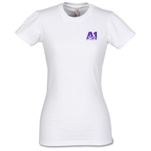 Anvil Ladies' Semi-Sheer Longer Length T-Shirt - White Main Image