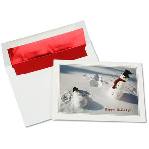 Playful Snow Angel Snowman Greeting Card Main Image