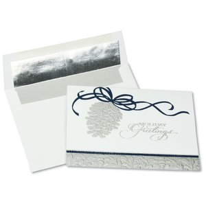 Silver Pinecone Greeting Card
