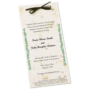 "Seeded Invitation/Program - 9"" x 4"" - Basil Main Image"