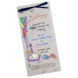 "Seeded Invitation/Program - 9"" x 4"" - Forget Me Not Main Image"