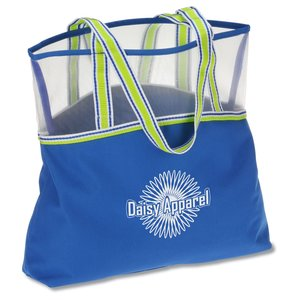 Color Band Mesh Top Tote Main Image