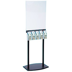 Floor Poster Stand with 5 Pockets - Black Main Image