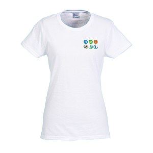 Gildan 5.3 oz. Cotton T-Shirt - Ladies' - Embroidered - White Main Image