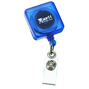 Economy Retractable Badge Holder - Square - Translucent - 24 hr Main Image