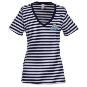 Anvil 5.0 oz. Striped V-Neck T-Shirt - Ladies' - Embroidered Main Image