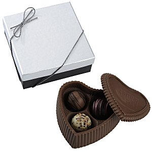 Chocolate Heart Box with Truffles - Silver Box Main Image
