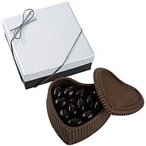 Chocolate Heart Box with Confection - Silver Box