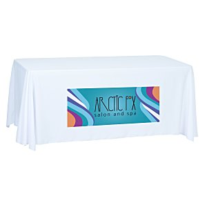 Open-Back Polyester Table Throw - 6' - Front Panel - Full Color Main Image