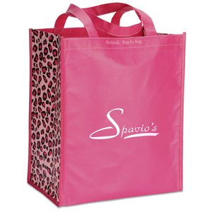 "Inspirations Laminated Grocery Tote - 15"" x 13"" -  Pink Main Image"