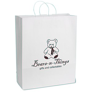 "White Kraft Paper Shopping Bag  - 19-1/4"" x 16"" - 24 hr Main Image"