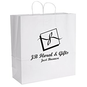 "White Kraft Paper Shopping Bag  - 18-3/4"" x 18"" - 24 hr Main Image"