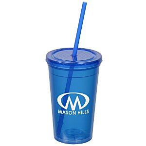 Economy Double Wall Tumbler with Straw - 16 oz. Main Image