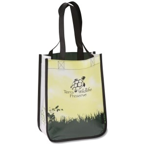 "Laminated Polypropylene-12""x9""-Green Grass Tote-Closeout Main Image"