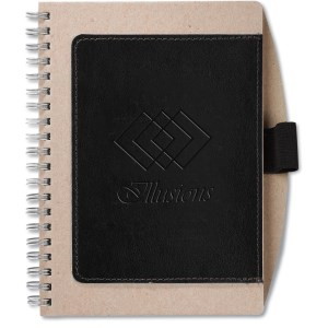 Recycled Cardboard & Leather Notebook - Closeout Main Image