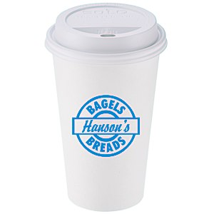 Paper Hot/Cold Cup with Traveler Lid - 16 oz. - Low Qty Main Image