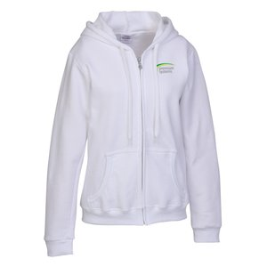 Gildan Full-Zip Hoodie - Ladies' - Embroidered - White Main Image