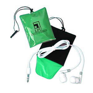 Cell Phone Cleaning Pouch with Ear Buds Main Image