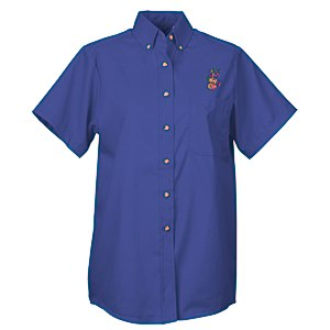 Soil Release Button Down SS Poplin Shirt - Ladies' - 24 hr Main Image