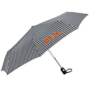 totes Auto Open/Close Umbrella - Houndstooth - 24 hr Main Image