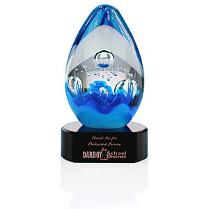 Cobalt Art Glass Award - Black Base Main Image