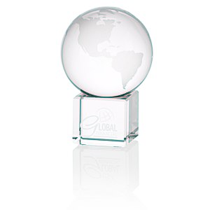 "Globe Crystal Desktop Award - 3"" Main Image"