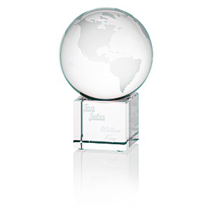 "Globe Crystal Desktop Award - 4"" Main Image"