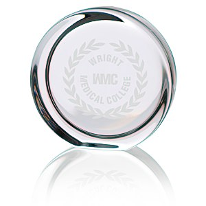 Round Display Lead Crystal Paperweight