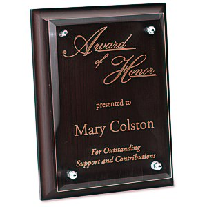 "Walnut Finished Plaque with Jade Glass Plate - 8"" Main Image"