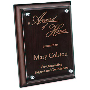 "Walnut Finished Plaque with Jade Glass Plate - 9"" Main Image"
