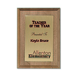 "Walnut Finished Wood Plaque with Aluminum Plate - 7"" Main Image"