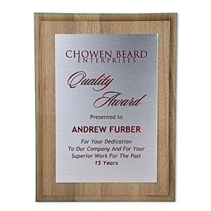 "Walnut Finished Wood Plaque with Aluminum Plate - 12"" Main Image"