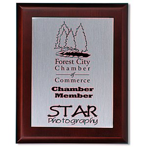 "Cherry Finished Wood Plaque with Aluminum Plate - 10"" Main Image"