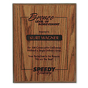 "Simulated Oak Plaque - 10"" Main Image"