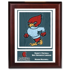 "Cherry Finished Wood Plaque w/Digital Print - 10"" Main Image"