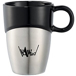 Double Dipper Ceramic Mug with Stainless Base - 11 oz.