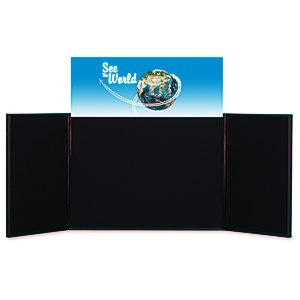 "Briefcase Tabletop Display with Rect. Header - 24"" x 64"" Main Image"