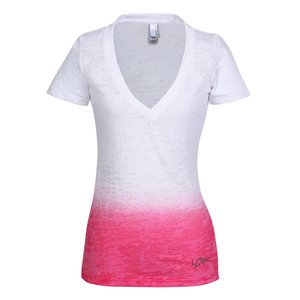 Next Level Ombre Burnout Deep V Tee - Ladies'