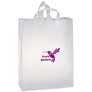 "Soft-Loop Frosted Clear Shopper - 17"" x 13"" - Foil Main Image"