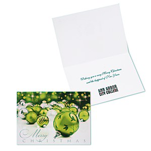 Green & Silver Christmas Greeting Card Main Image