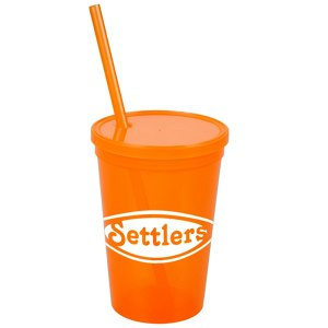 Stadium Cup with Lid & Straw - 16 oz. - Jewel Main Image