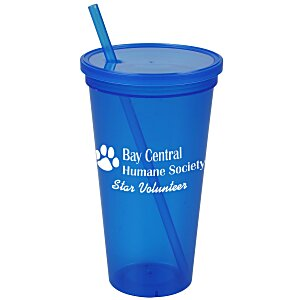 Stadium Cup with Lid & Straw - 24 oz. - Jewel Main Image