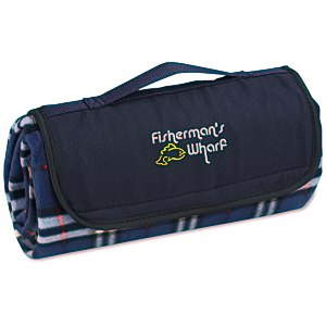 Roll-Up Blanket – Navy/White Plaid with Navy Flap